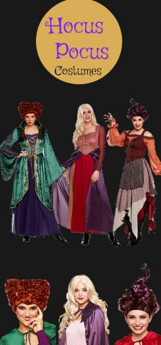 Hocus Pocos Sanderson sisters witch costumes are best selling Halloween costumes for 2017! Women and teen sizes, wigs too.