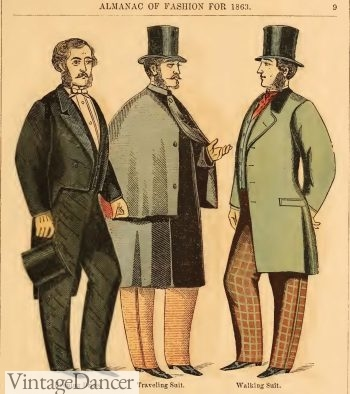 1863 Victorian mens suits and overcoat (center)
