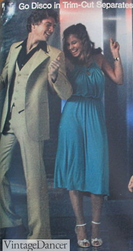 Disco outfits 1978 blue dress and heels