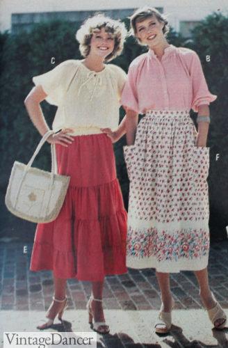 1978 tiered midi peasant skirts