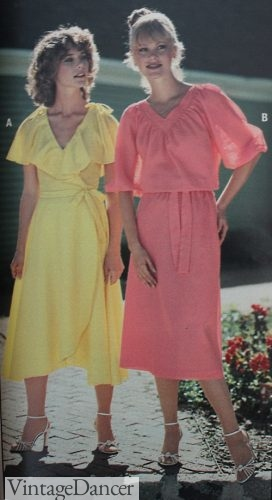 1978 yellow ruffled wrap dress, pink tie waist dress 1970s