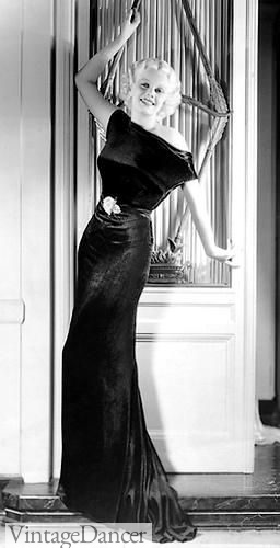 Jean Harlow, 1930s, velvet bias cut evening gown. Old Hollywood Glamour!