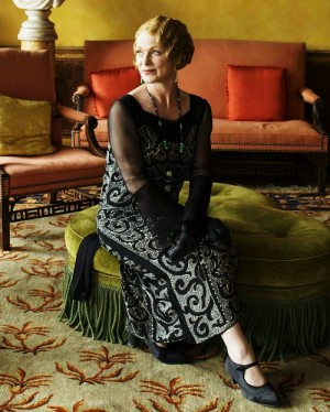 Downton Abbey Lady Rosamond in beaded evening gown, and Mary jane shoes