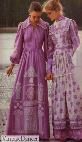 Laura Ashley 70s granny dresses, prairie dresses