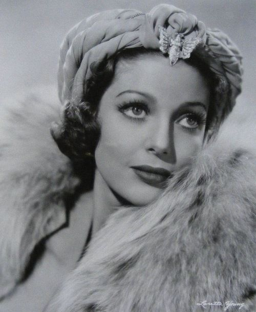 Loretta Young, 1937, wearing a Turban hat with butterfly pin