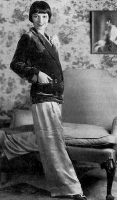 Lousie Brooks wearing lounge pants and jacket 1920s