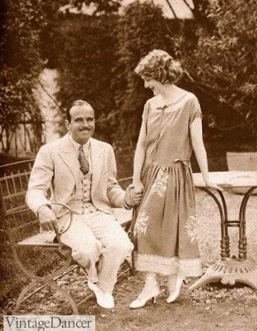 Mary Pickford and husband, Douglas Fairbanks, 1924 cream colored suit