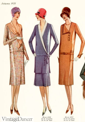 1928 tailored day dresses with cloche hats