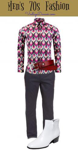 70s men's disco style- bold shirt, high rise pants, boots, big belt