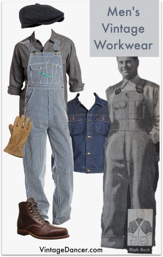 Men's Vintage Workwear- 1900-1940s- striped overalls, wool flannel shirt, denim jacket, cap, gloves and sturdy work boots.