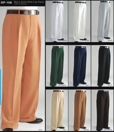 Mens vintage wide leg high waist pants