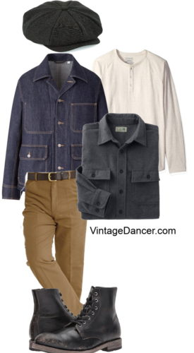 Men's vintage casual workwear outfit ideas at VintageDancer