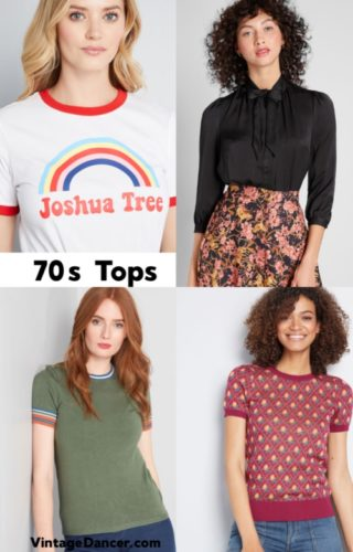 70s tops, T-shirts, blouses and knit pullovers at VintageDancer