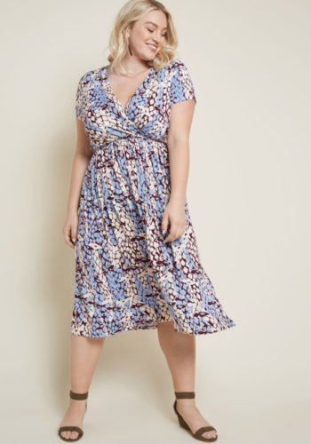 A lovely 70s wrap dress at Modcloth (plus sizes too)