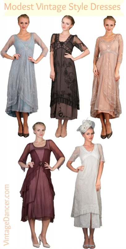 1910s to 1920s modest vintage dresses