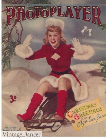Olga San Juan models red Russian boots in 1947. A bit early for the revival. Perhaps they were only made for costumes.