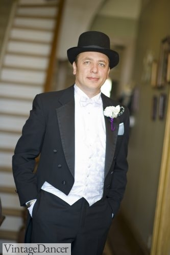 My husband, in formal a wedding suit for our vintage themed wedding