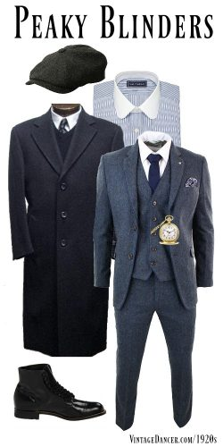 Peaky Blinders outfit costume, Thomas Shelby, gangster. Get the look at VintageDancer.com