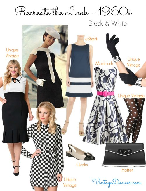1960s style fashion. Black and white is an easy a very mod way to make a 60s look. VintageDancer.com/1960s