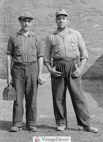 1938 Steel Workers wearing cotton pants and shirts