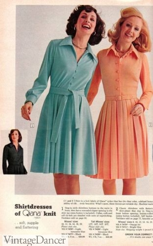 1974 shirtwaist dress with tie belt in Quiana knit