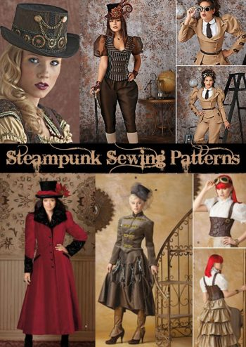 Steampunk patterns, sewing patterns for dresses, coats, skirts, hats, tops, pants and more