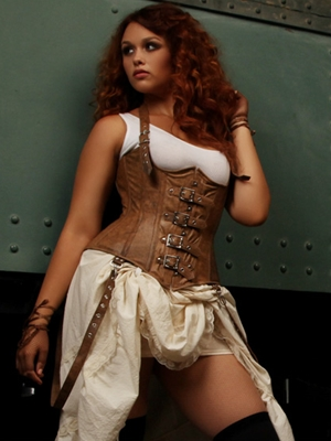 Steampunk Corset brown leather buckles