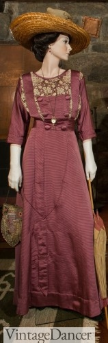 Titanic era day dress, 1911, Plum silk with chemise detailing. Source Stickley museum