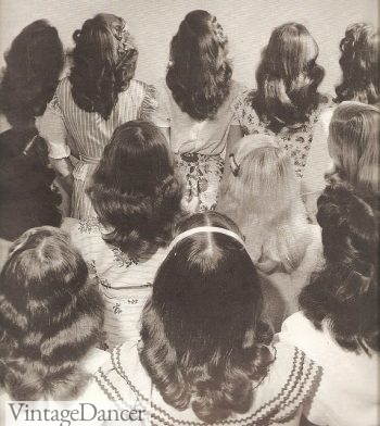 1940s hairstyles. Young teen and women's long hair with a simple center part.