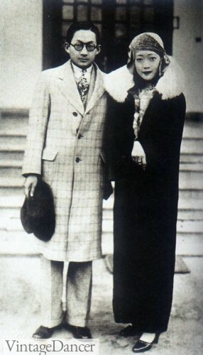 The last empress of China, Wanrong and her brother Runqi ca. 1920s wearing sunglasses