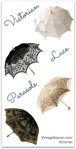 Lace parasols and umbrellas, Victorian parasols at VintageDancer.com/Victorian