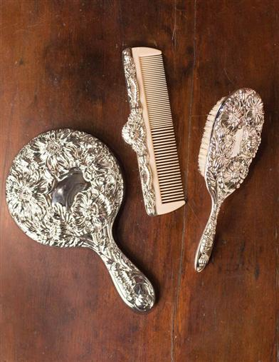 Victorian beauty mirror, comb and brush set
