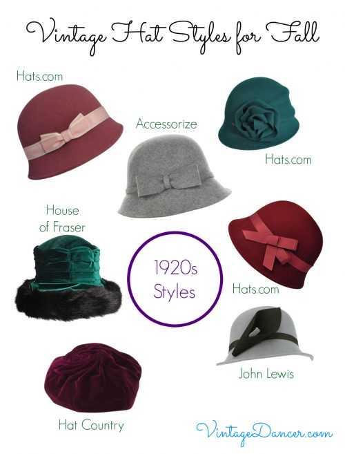 Choose from these vintage inspired hat styles for a 1920s look.