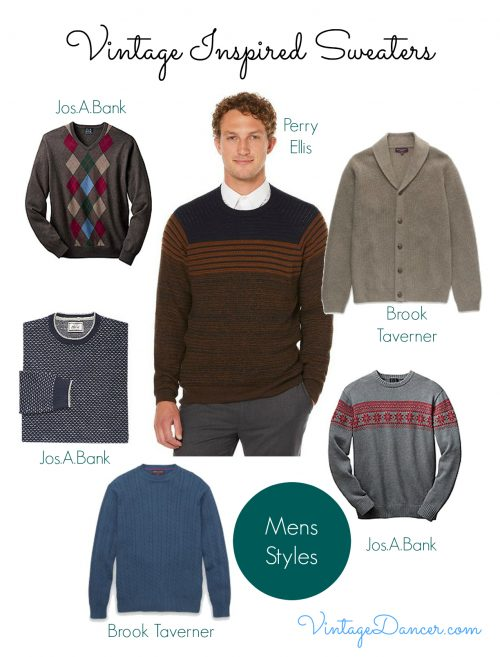 Men's vintage inspired sweaters and cardigans.