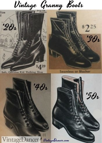 Vintage Lace-up granny boots form the 1920s, 1930s, 1940s and 1950s