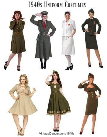 1940s WWII Uniform costumes - WAC, WAVES, Nurse, Army, Navy etc Halloween Costumes