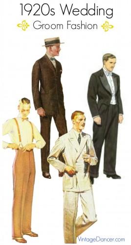 1920s wedding grooms attire options at vintagedancer.com