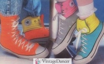 1980s Kids' Converse shoes with fold-down high tops