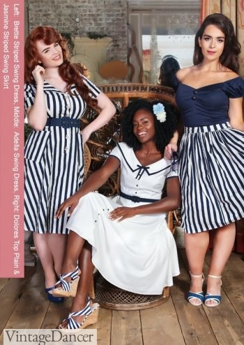 Collectif blue stripes outfits. Click to see more.