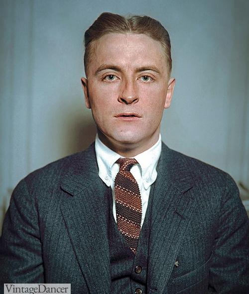 1920s mens ties, F Scott Fitzgerald wearing a stripe knit tie