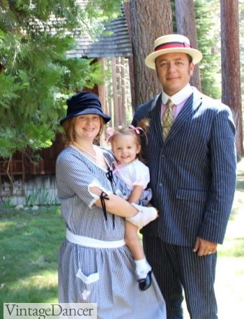 1920s family costumes- baby girl, mom and day all in 1920s reproduction clothing