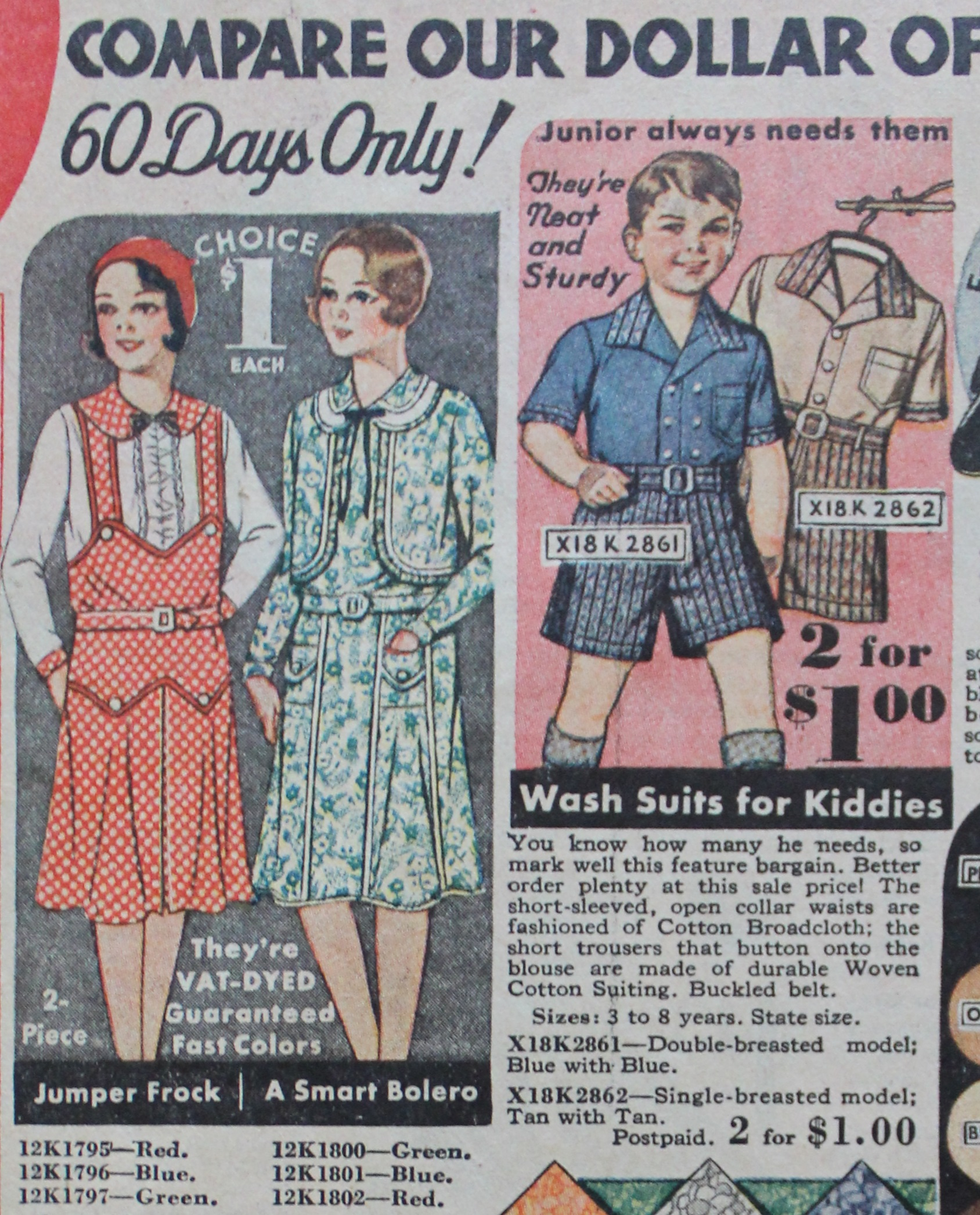 1930s children clothes girls and boys