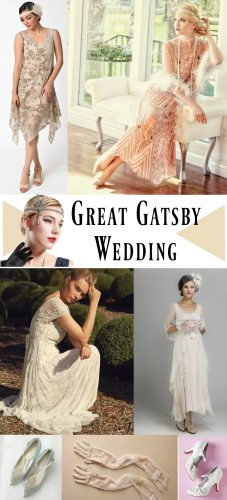 Great Gatsby Wedding dresses, shoes and accessories or a roaring 20s themed wedding at VintageDancer
