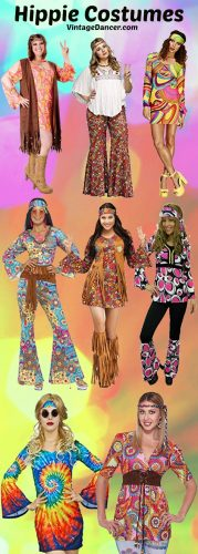 Hippie costumes- shop women's hippie costume and hippie outfits fo Halloween or 60s 70s parties. Find them at VintageDancer.com