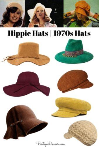 Hippie hats 70s hats 1970s hats women at VintageDancer