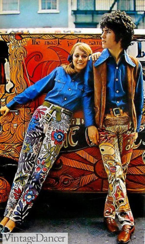 60s hippie flower power pants