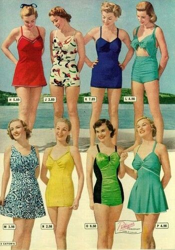Late 1930s swimsuits. Notice more raching at the bust, wider skirts, and a bit of tummy showing in the upper right.