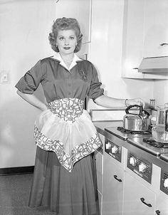 Lucile Ball in fancy half apron