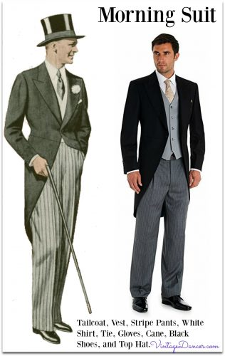 1900-1940 Classic morning suit of tailcoat, striped pants, double breasted vest, club or wingtip collar white shirt, white gloves, cane, lace up dress boots, tie, and silk top hat.