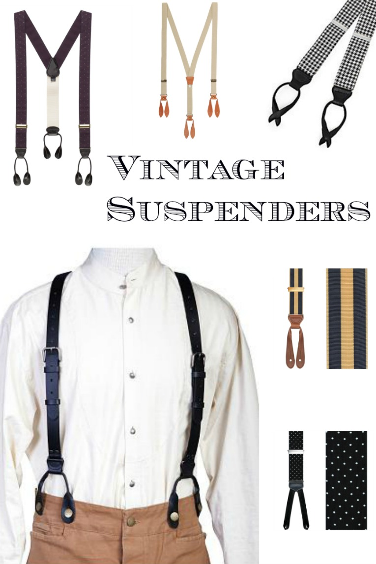 Find men's vintage style suspender braces at VintageDancer.com